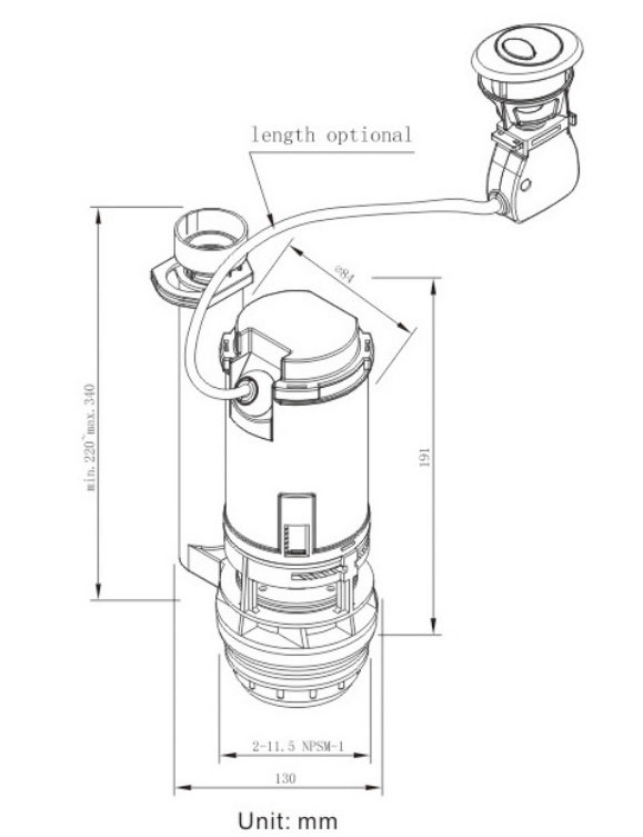 Toilet Flush Valve With Metal Front Lever
